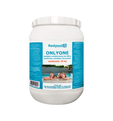 ONLYONE cloro multifunzione, pastiglie da 200g. Conf. da 25 Kg